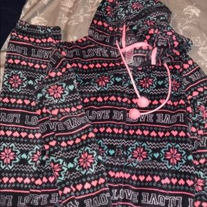 Hoodie open foot onesie pajama